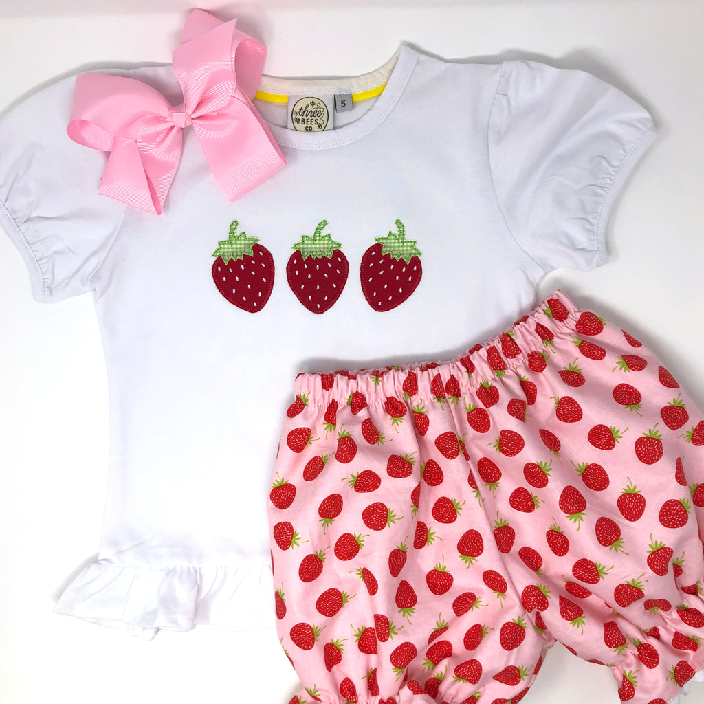Strawberry Trio Applique Top