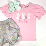 Bunny Trio Applique Girls Top