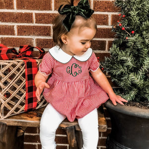 Bee Merry Red Gingham Girls Bubble