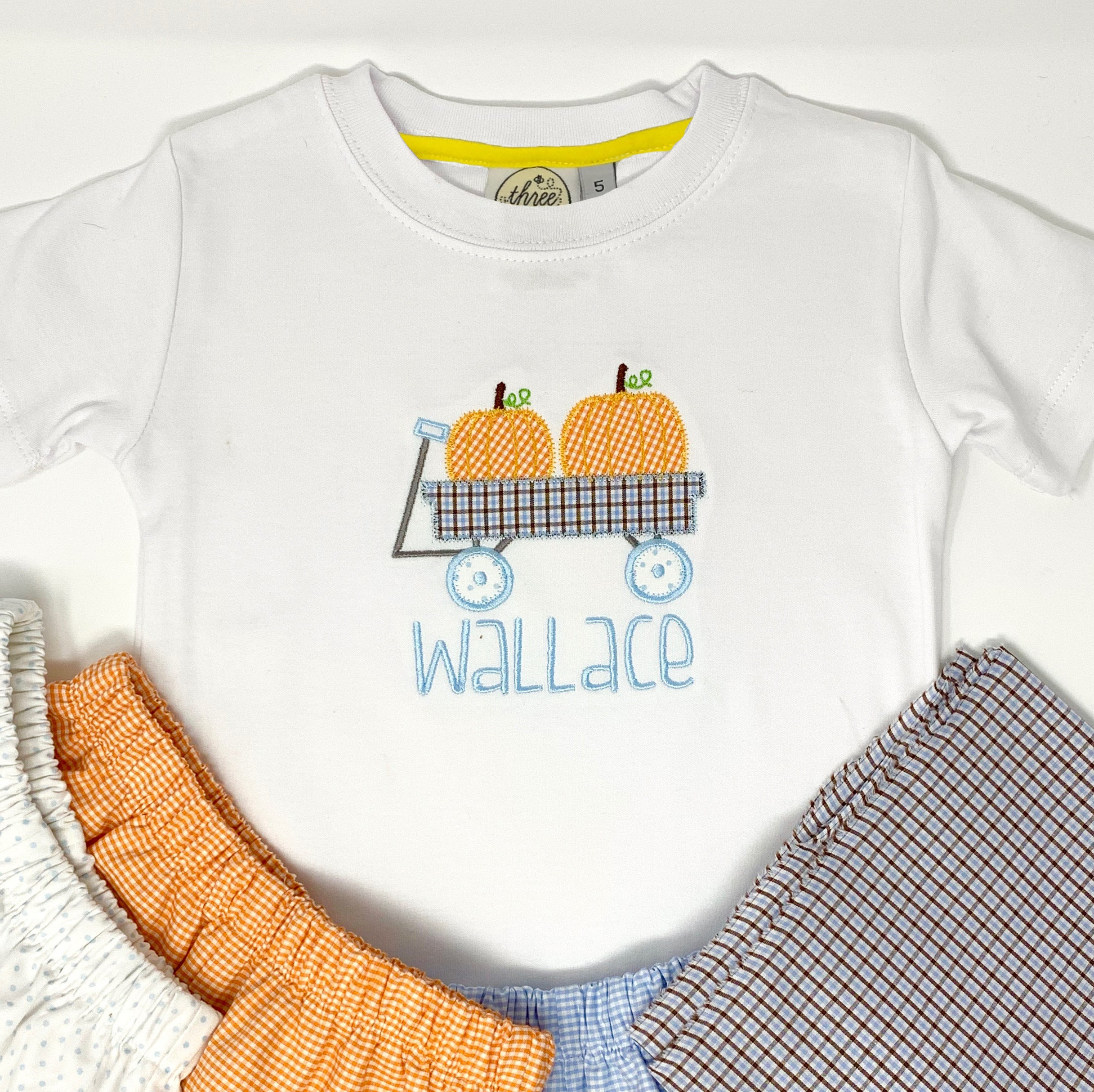Pumpkin Wagon Applique Boys T-Shirt