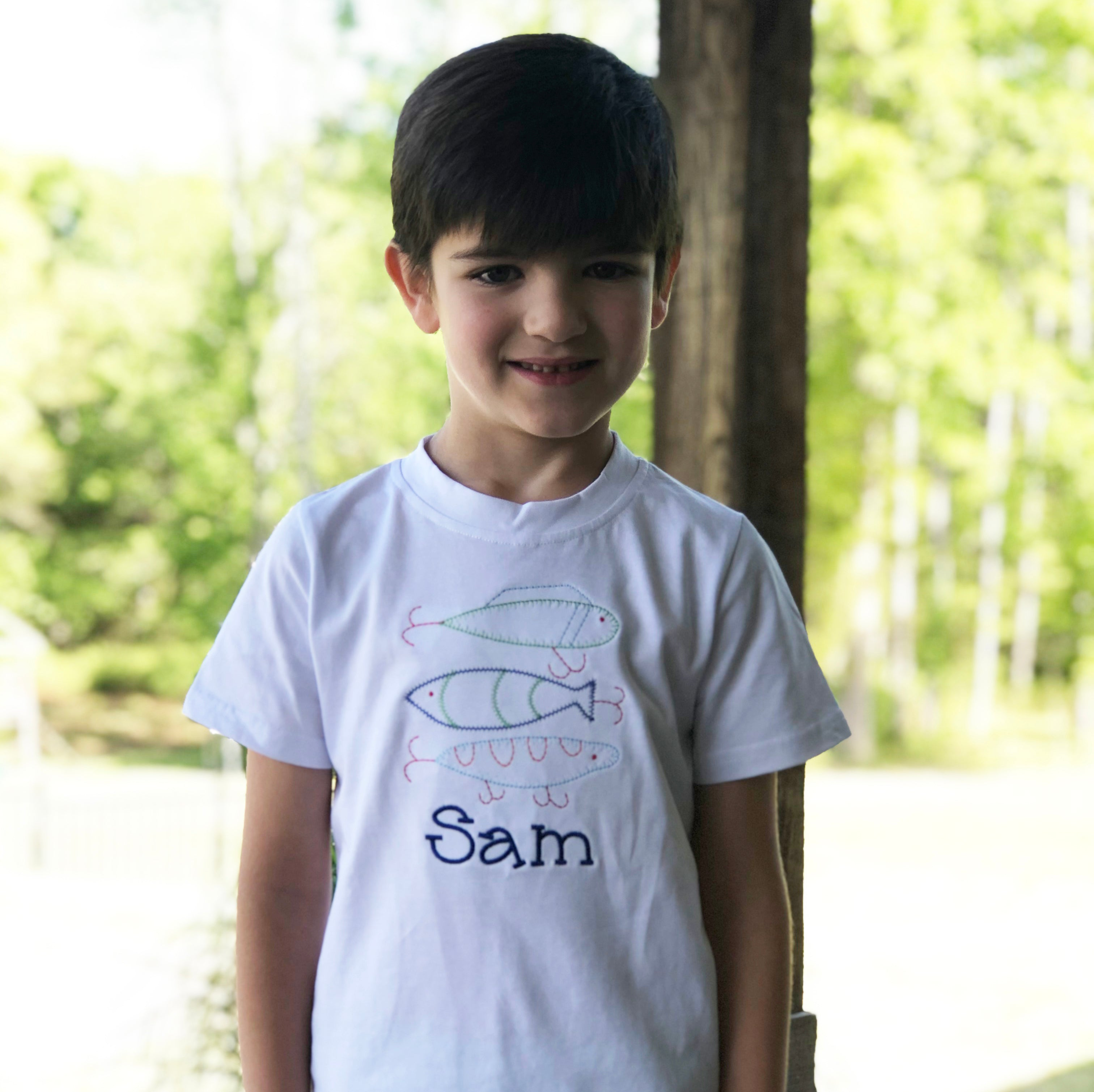 Fishing Lures Boys Embroidery T-Shirt