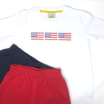 American Flag Trio Embroidery T-Shirt