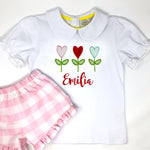 Flower Heart Trio Girls Applique Top