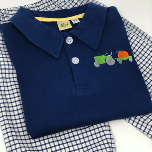 Tractor Pumpkin Collared Shirt