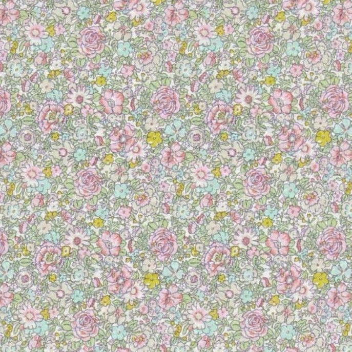 Liberty of London Fabrics Classic Tana Lawn Amelie Roses Lime/Pink/Yellow