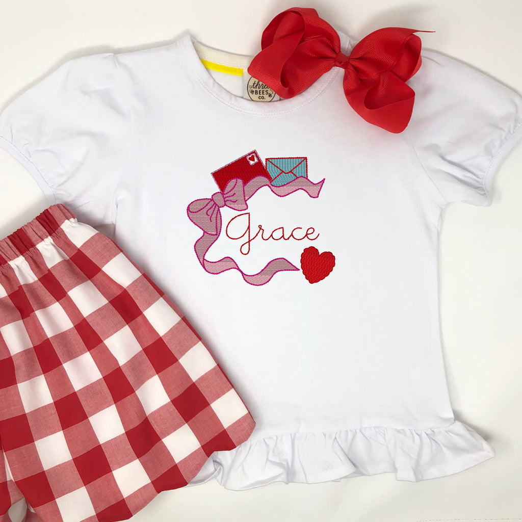 Valentine's Mail Embroidery Girls Top