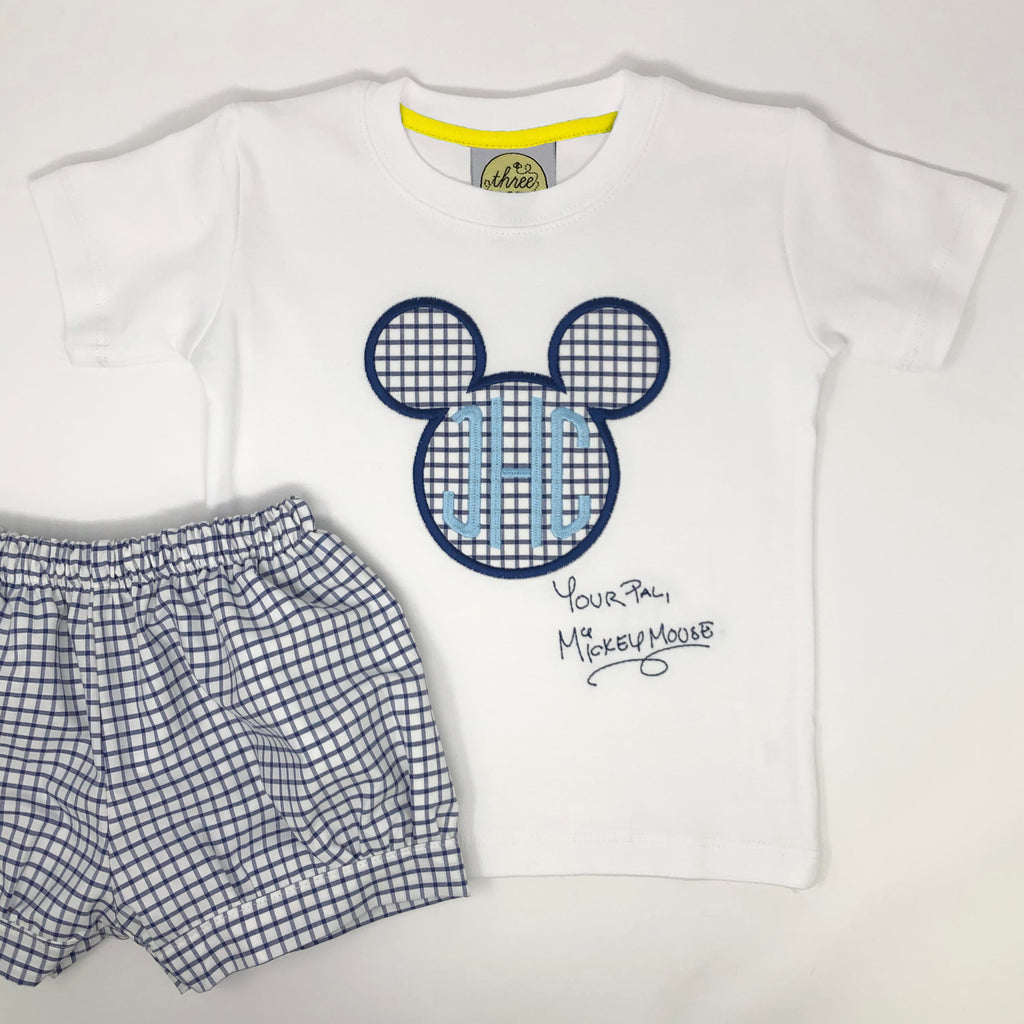 Classic Mouse Applique with Monogram Boys T-Shirt