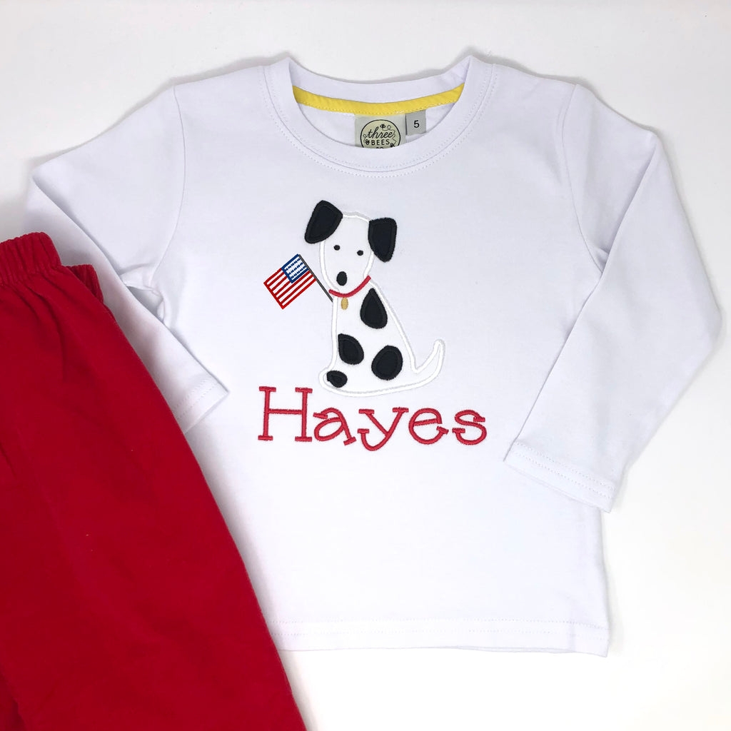 Patriotic Dalmatian Applique Boys T-Shirt