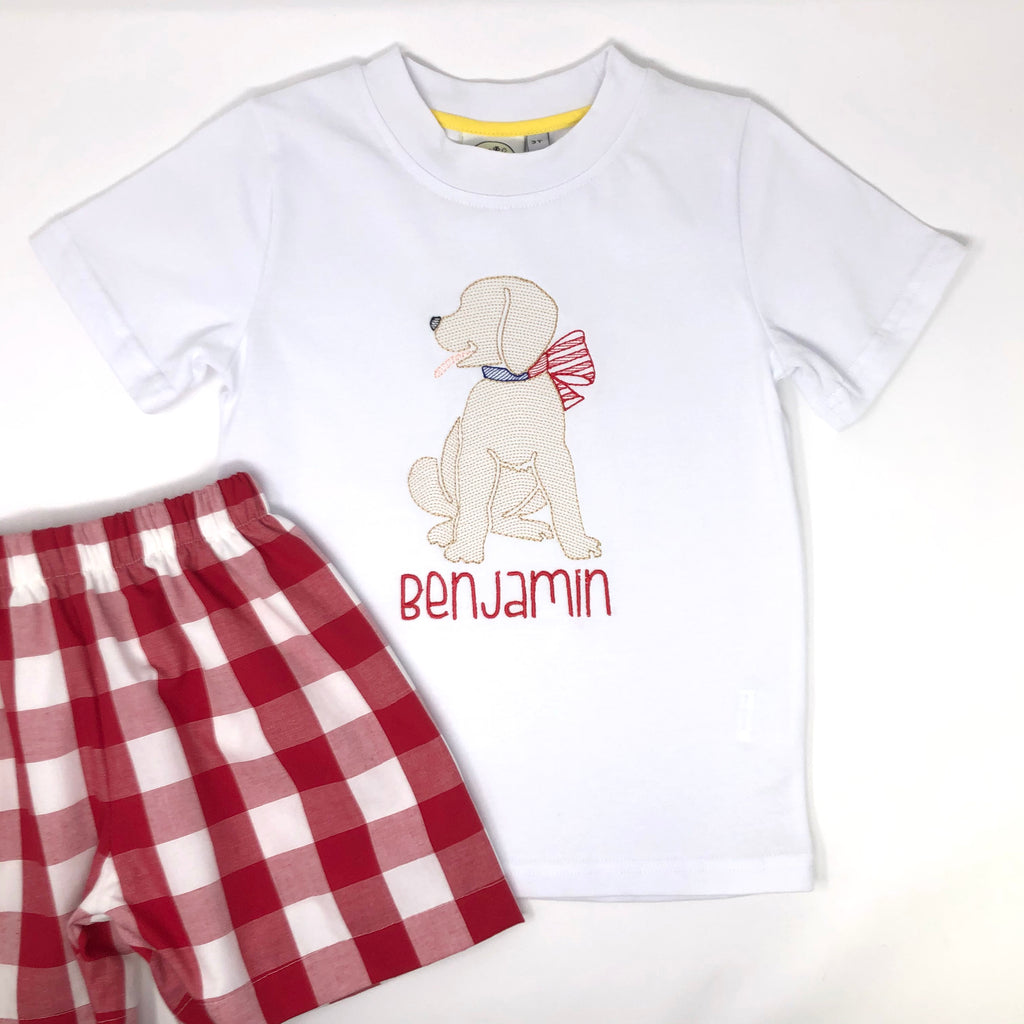 Patriotic Pup Embroidery T-Shirt
