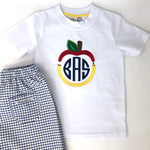 Back to School Apple & Pencil Applique Frame Boys T-Shirt