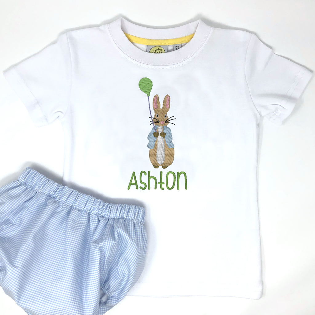 Balloon Peter Rabbit Embroidery Boys T-Shirt