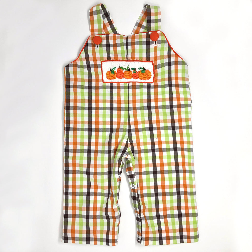 Hand Smocked Pumpkin Plaid Overalls
