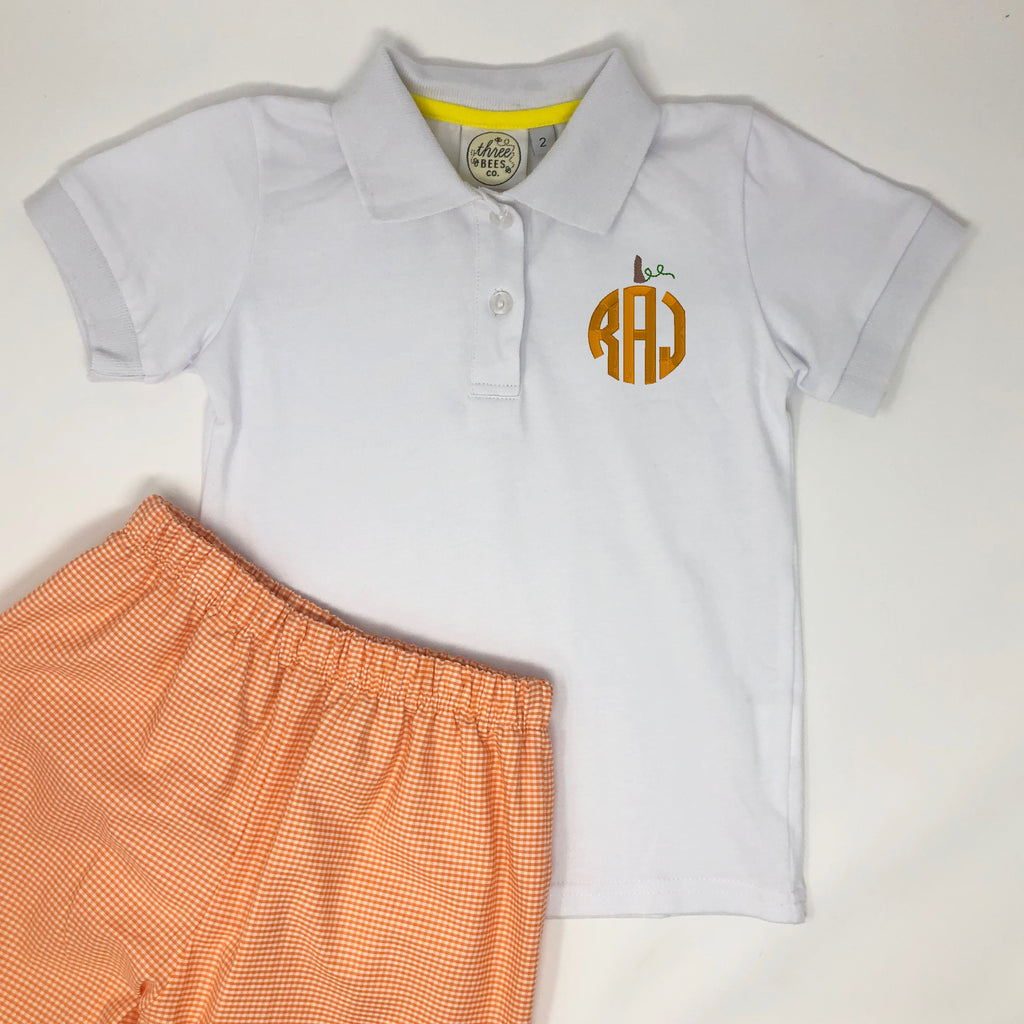 Circle Pumpkin Monogram Boys Collared Shirt