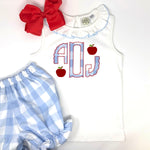 Scallop Monogram Applique Girls Top