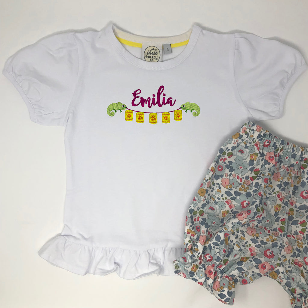 Lantern Bunting Girls Embroidered Top
