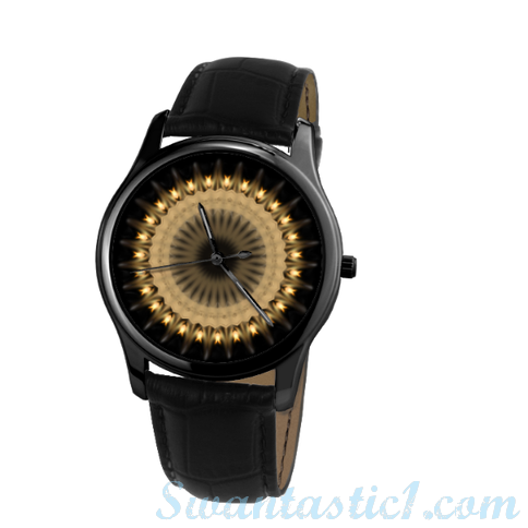 Dark Demon>30 Meters Waterproof Quartz Leisure Watch With Black Genuine Leather  - SWANTASTIC1
