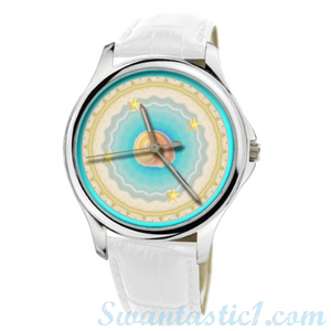 Beach>30 Meters Waterproof Quartz Fashion Watch With White Genuine Leather  - SWANTASTIC1