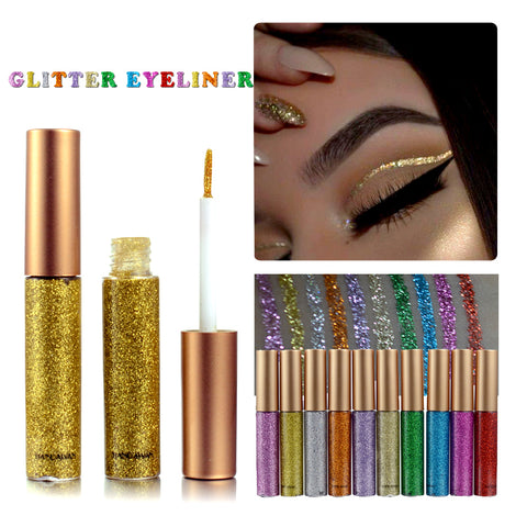 2018 Shimmer Glitter Eyes Liner For Women Make Up Easy to Wear Waterproof Pigment Red White Gold Liquid Eyeliner Glitter Makeup
