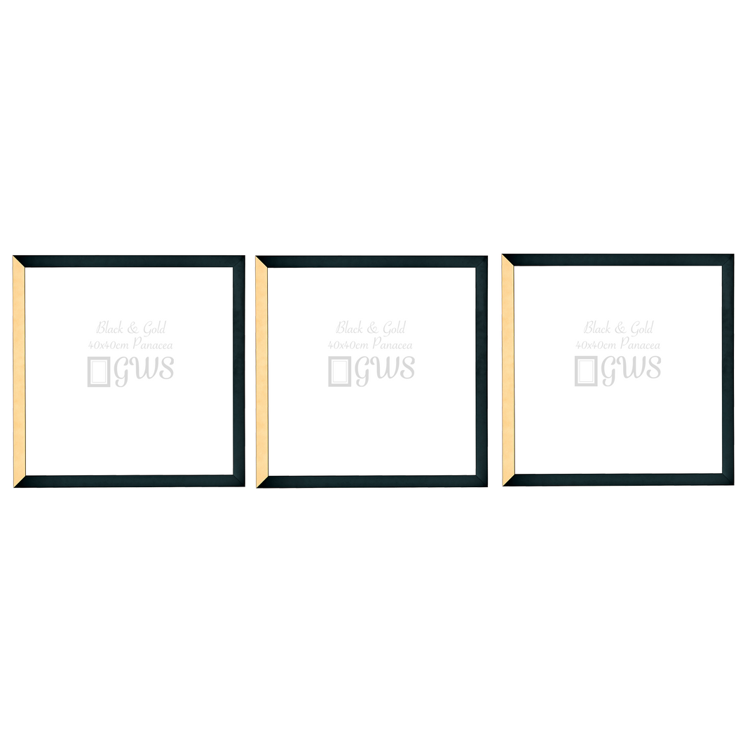 Three black and gold square picture frames