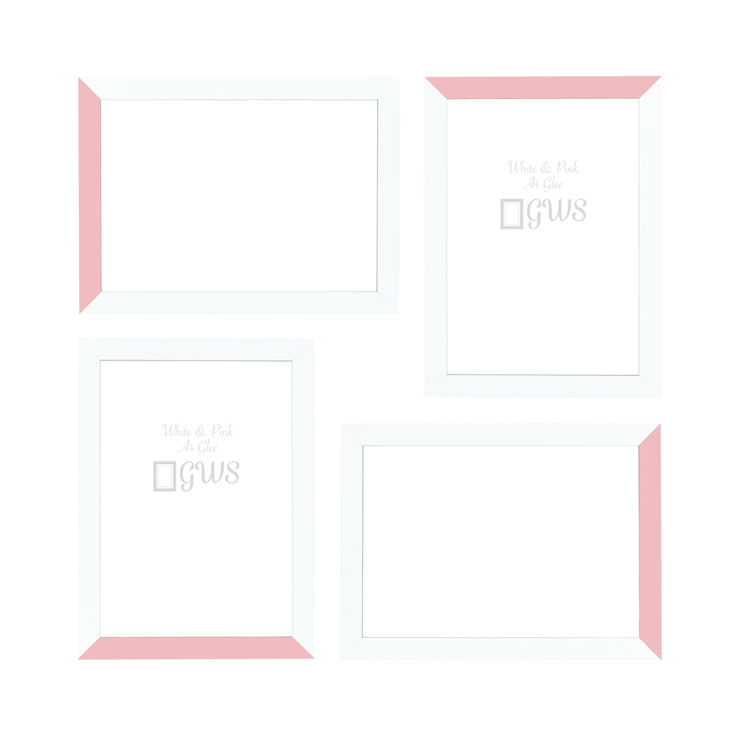 Set of four A4 picture frames in white and pale pink
