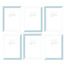 Set of six A4 picture frames in white and pastel blue