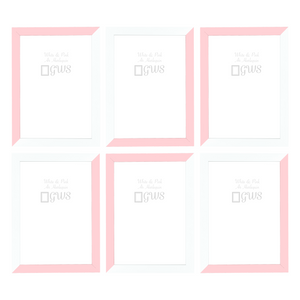 Set of six A4 picture frames in white and pale pink