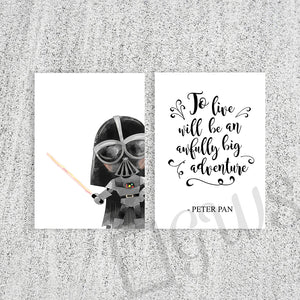 Two pictures of Peter Pan quote and cartoon darth vader