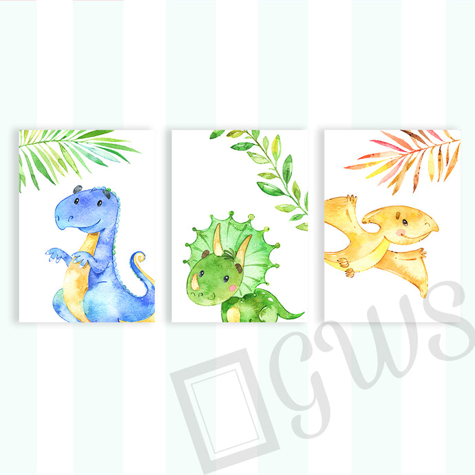 Three pictures of cartoon dinosaur in watercolour