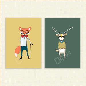 Pictures of a cartoon fox and deer with hipster clothes and sunglasses