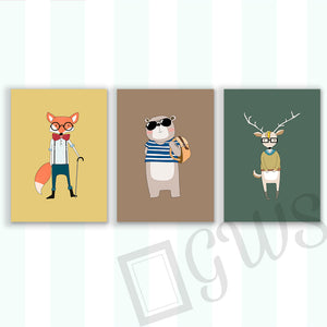 Three pictures of a cartoon animals with hipster clothes and sunglasses