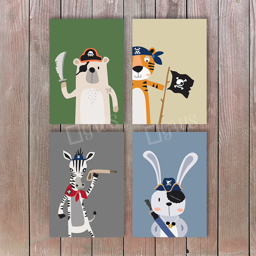 Four pictures of cartoon animals dressed as pirates