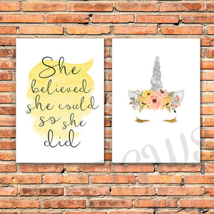 Two wall prints with inspirational quote and unicorn face