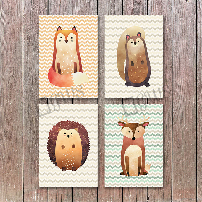 Four pictures of woodland creatures for kids nursery