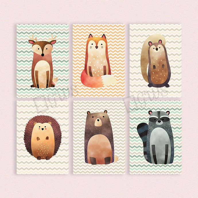 Set of six pictures of woodland creatures for baby's nursery
