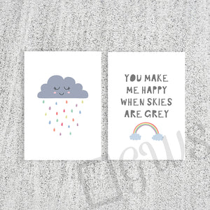 Two pictures with cartoon cloud and 'you make me happy when skies are grey' quote
