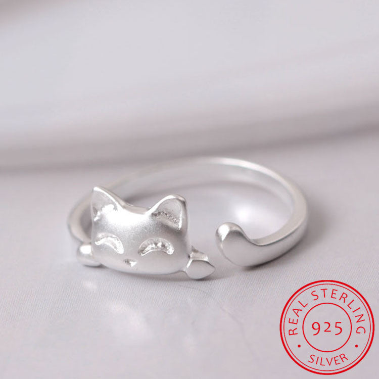wrap adjustable finger ring women silver image jewelry products product twine cat for cute girl rings young or gift