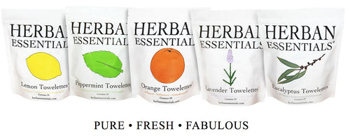 Herban Essentials- Towelettes (20), Multiple Fragrances Available