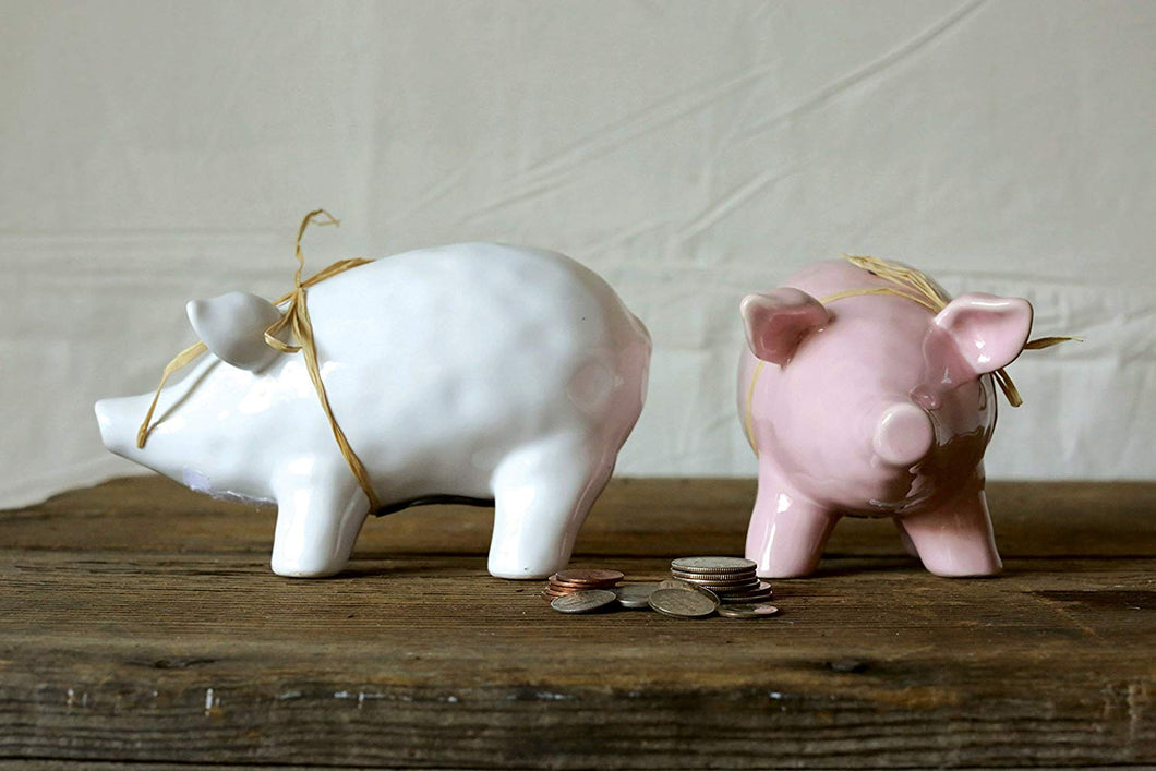 Piggy Bank - Pink and White