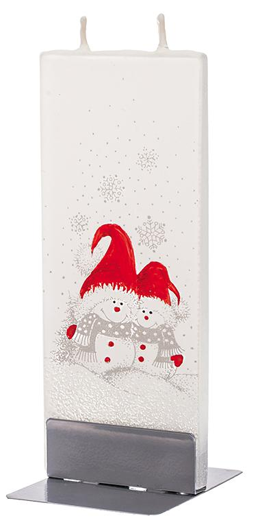 Flatzy Candles- Two Snowmen and Red Hats