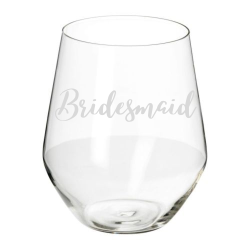 Etched Stemless Wine Glass- Bridesmaid