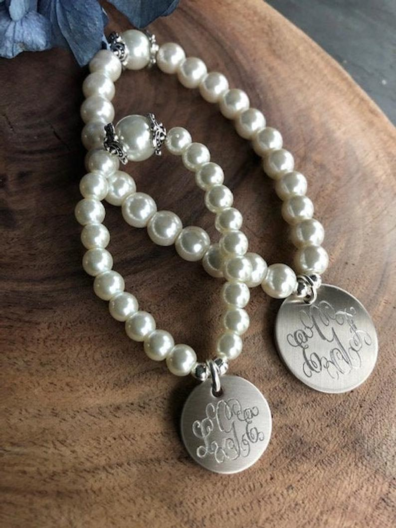 Pearl Bracelet Set- Mother/Daughter with monograms
