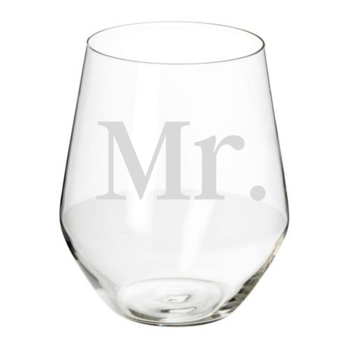 Etched Stemless Wineglass- Mr.