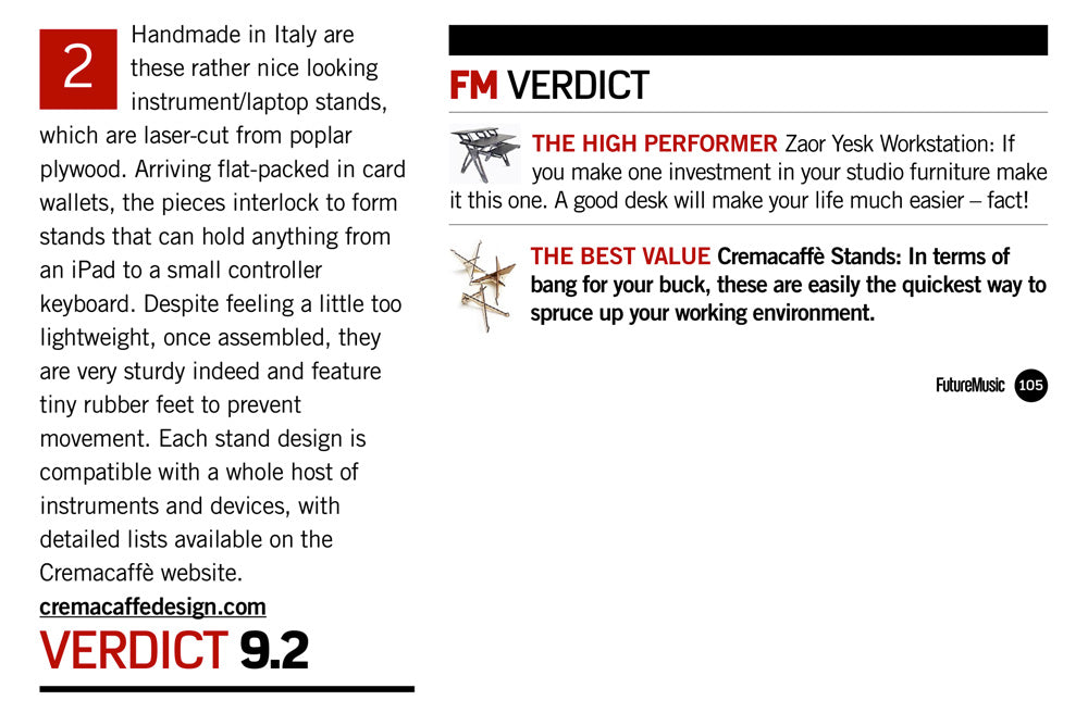 Cremacaffè Stands: BEST VALUE for your Studio Furniture | Future Music Mag.