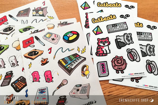 "Cremacaffè Design ""Catbeats"" Stickers"