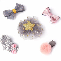 Assorted Five Piece Clip Set - Pink and Silver
