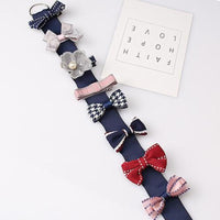 Eight Piece Clip Sets with Bow Organiser- Various Colours and Designs