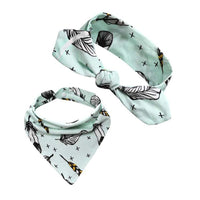 Baby Bib & Headband Set - Mint Green with Feathers