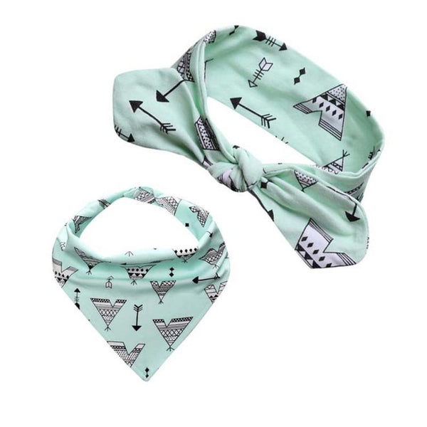 Baby Bib & Headband Set - Mint Green with Teepees
