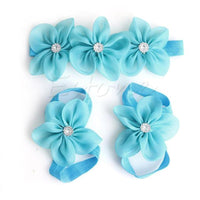Baby Barefoot & Flower Headband Sets - Various Colours
