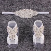 Baby Barefoot Set with Matching Headband - White with Diamantes